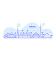 new delhi skyline india city buildings line vector image vector image