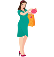 Pregnant woman shopper vector image vector image