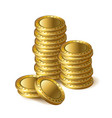 realistic 3d gold empty coin isolated stacks on vector image