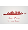 San Antonio skyline in red vector image vector image