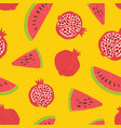 seamless pattern with pomegranates and watermelon vector image