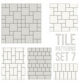 set thin line seamless pattern brick tile vector image