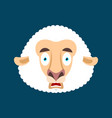 sheep scared omg face avatar ewe oh my god emoji vector image vector image