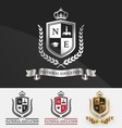 Shield and wreath laurel with crown crest logo vector image