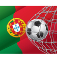 Soccer goal and Portugal flag vector image vector image