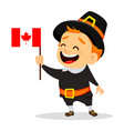 thanksgiving greeting card with canadian man vector image vector image
