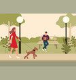 woman and terrier dog walking in park vector image vector image