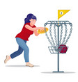 woman throwing a frisbee disc to basket vector image vector image