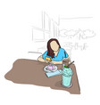 woman using mobile phone with cake cand cool vector image