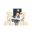 work at night man working with papers solving vector image vector image