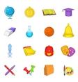 School icons set cartoon style vector image