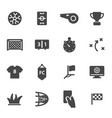 black soccer icons set vector image