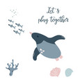 baby print with penguin hand drawn graphic vector image