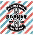 barbershop emblem with barber pole and sample text vector image vector image