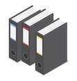 black office folder icon set isometric style vector image