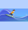 boy surfing on wave concept banner cartoon style vector image vector image