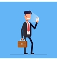 Businessman or manager standing with phone and vector image vector image