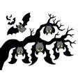 cartoon bats hanging on branch vector image