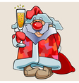 cartoon funny Santa Claus with a glass of vector image