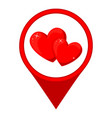 cartoon red heart couple map pointer vector image