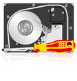 computer hard disk drive and screwdriver vector image
