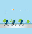 cyclists riding bicycle on bike lane vector image