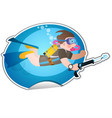 diver under water with a spear gun diving and vector image
