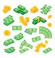 dollar coins and bills paper banknote set vector image