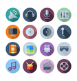 Flat Design Icons For Sound and Music vector image vector image