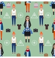 Girl hipster seamless pattern vector image