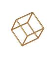 golden linear 3d cube template geometric vector image