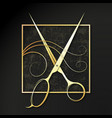 golden scissors and curl hair symbol a beauty vector image vector image