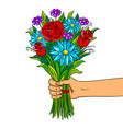 hand with flowers pop art vector image vector image
