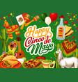 happy cinco de mayo mexican tequila and guitar vector image vector image