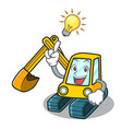 have an idea excavator mascot cartoon style vector image vector image