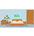 Interior bedroom with furniture carpet wallpaper vector image