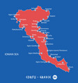 island of corfu in greece red map vector image vector image