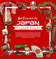 japanese culture and tradition objects vector image vector image