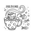 kitten and fish in mug cartoon clip art vector image
