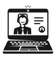 laptop on webinar icon simple style vector image vector image