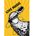 live music animal paw with microphone musical vector image