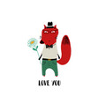 love card with lovely fox vector image vector image
