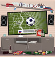 mess in room after watching soccer vector image