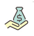 money bag and hand icon for financial graphic