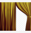 naturalistic image of curtain open curtains gold vector image