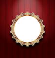 Ornate picture frame on wooden wall vector image