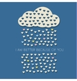 Paper heart from cloud on dark blue vector image vector image