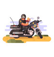 police officer with donut and coffee on motorcycle vector image