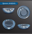 realistic eye lenses transparent set vector image vector image