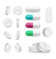 realistic pills and drugs set painkiller vector image